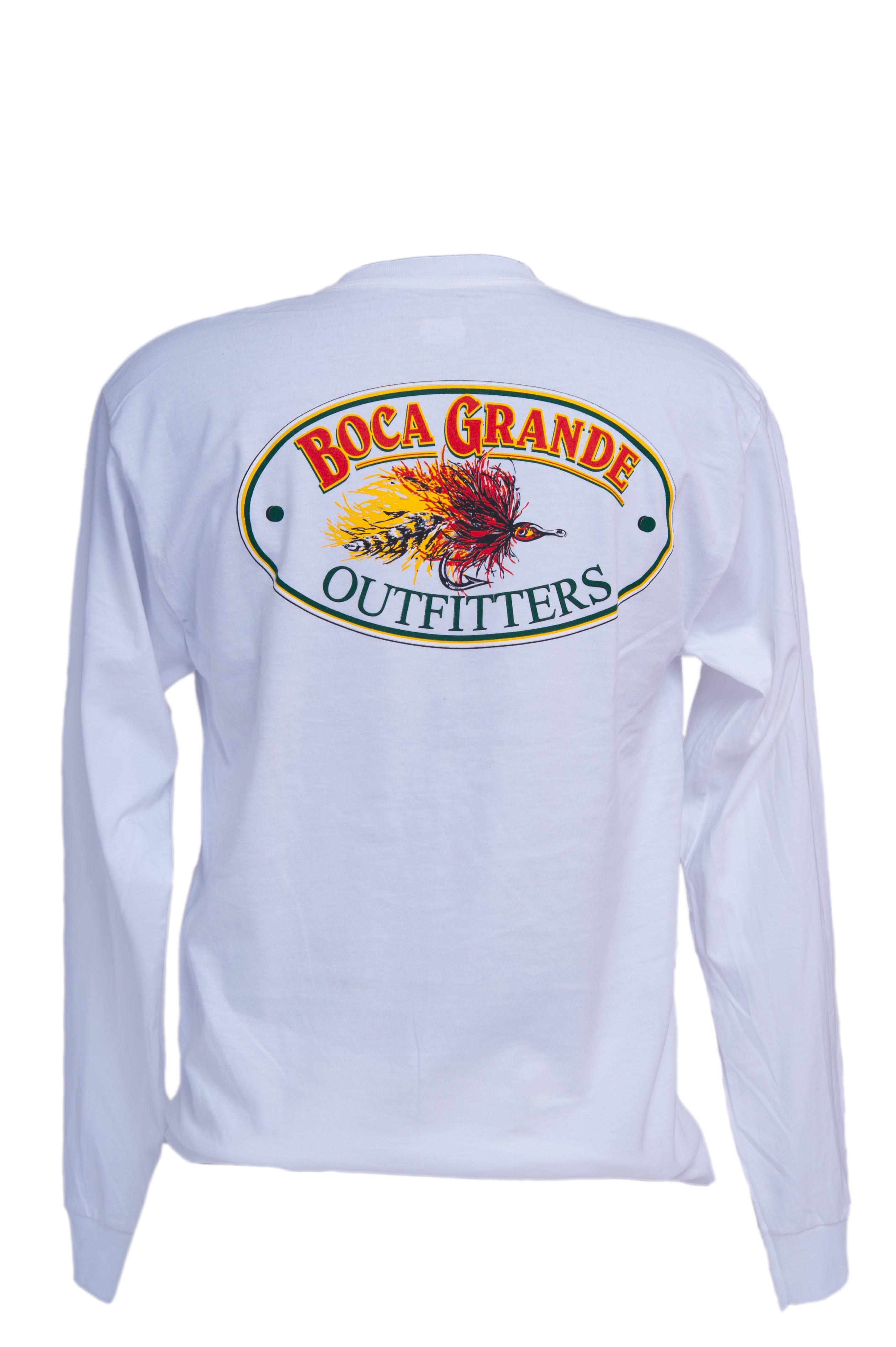 Boca Grande Outfitters Long Sleeved Fly Logo T-Shirt - White