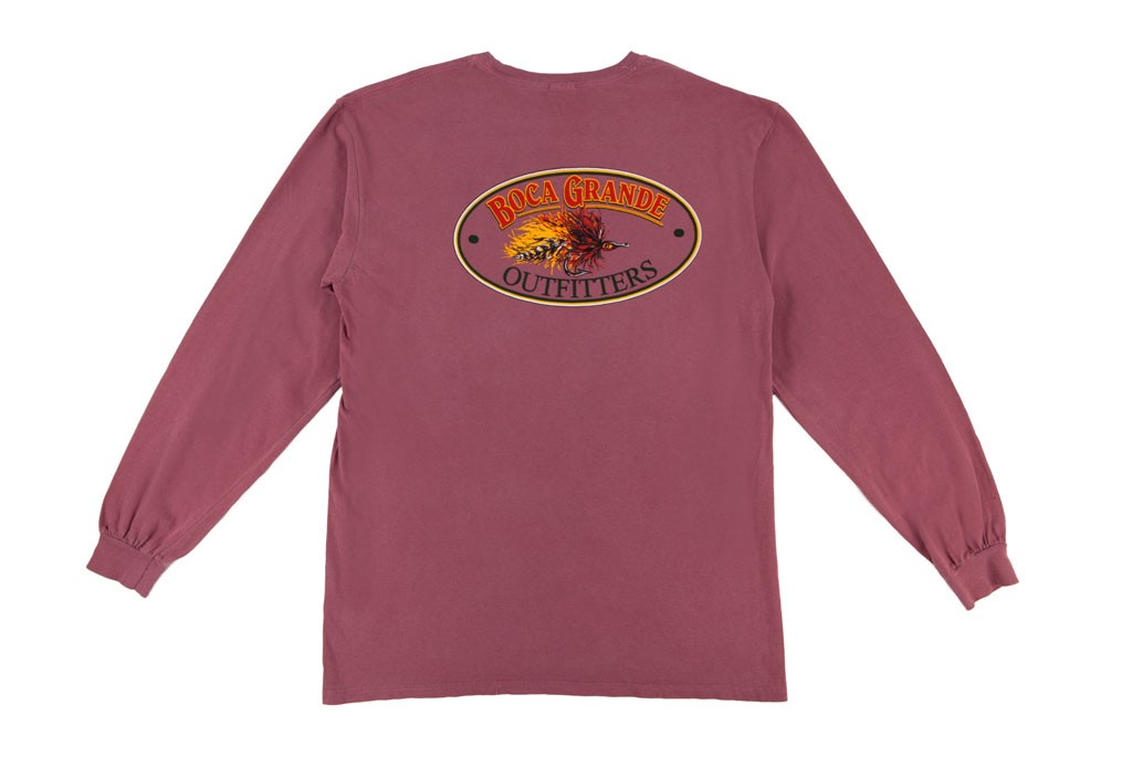 Boca Grande Outfitters Long Sleeved Fly Logo T-Shirt - Red