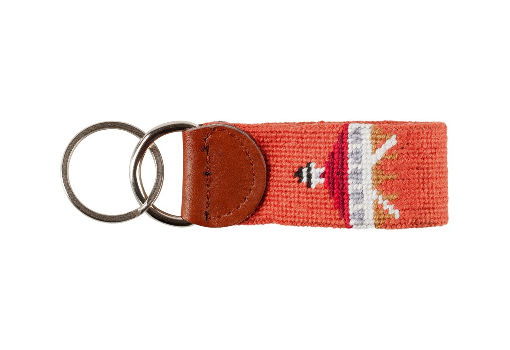 Smathers & Branson Needlepoint Key Fob; Historic Boca Grande Lighthouse & Island Logo; Nantucket Red