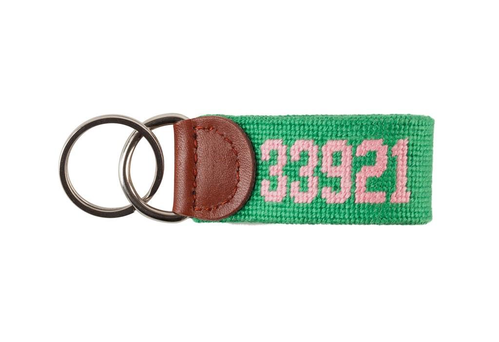 Smathers & Branson Needlepoint Key Fob Boca Grande Zip Code; Mint Green