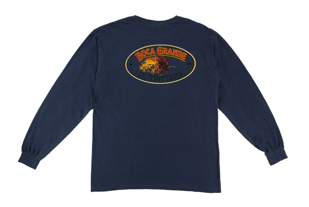 Boca Grande Outfitters Long Sleeved Fly Logo T-Shirt - Navy