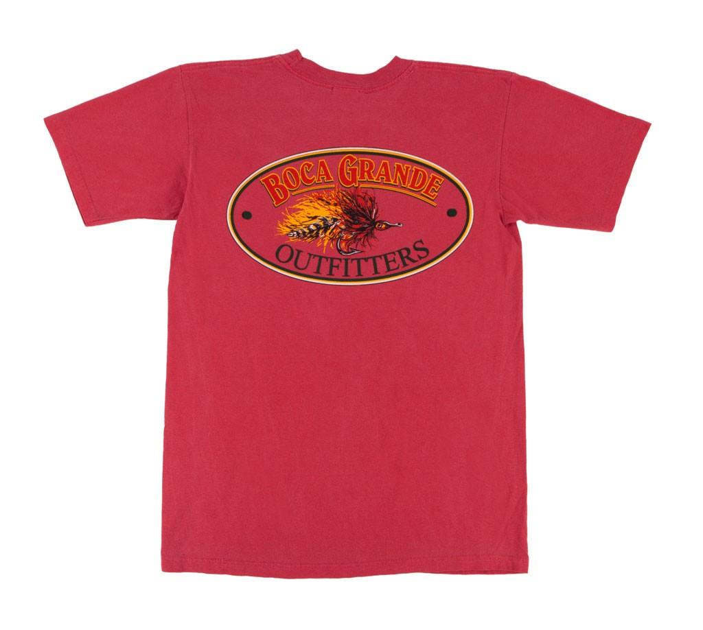 Boca Grande Outfitters Kids Short Sleeved Fly Logo T-Shirt - Poppy